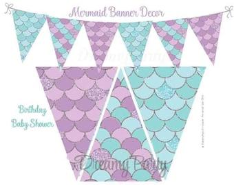 Mermaid Party Decorations, Mermaid Banner Decor, Printable Banner, Birthday banner, Mermaid Shower banner, Aqua and Purple, Digital File,