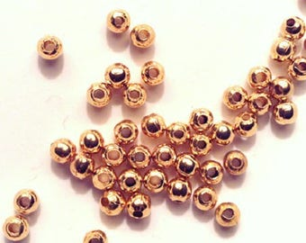 Set of small round beads gold metal, 3 mm