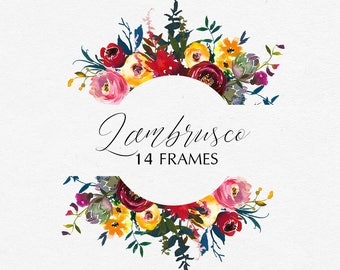 Bordo Watercolor Floral Embellished Frames Clipart Burgundy White Red Yellow Flowers Marsala Colors Wedding Clipart Floral PNG Invitation