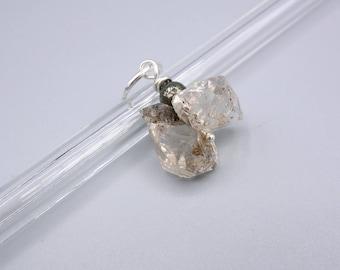 Herkimer Diamond Pendant, Herkimer PyritePendant, Double Herkimer Pendant, 925 Silver
