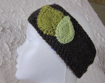 Brown headband with green leaves
