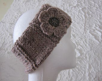 Headband/headband beige Tweed wool and its pretty flower