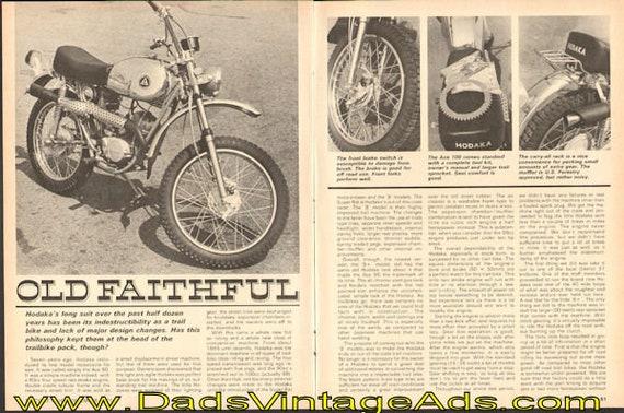 1971 Hodaka 100 B+ Motorcycle Road Test 4-Page Article #de71la07