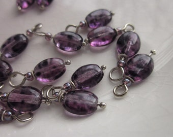 18 Handmade Drops, Purple Glass Beads on Silver-plated Brass Wire, 16mm x 6mm