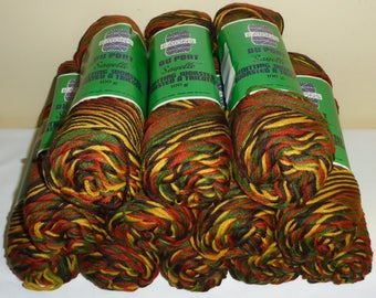 12 Skeins of Vintage Eaton's Du Pont Sayelle Knitting Worsted Yarn - Varigated Gold, Green, Rust, Yellow & Brown