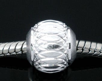 Set of 2 aluminum background beads 10 mm FILIGREE Pr CHARMS