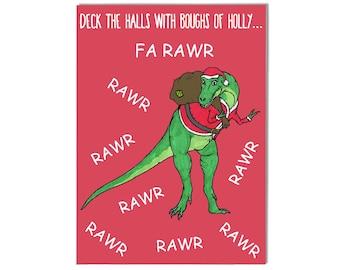 Deck The Halls Card - Christmas Card, Holiday Card, Funny Card, Pun Christmas Card, Christmas Greeting Card, Dinosaur Christmas Card