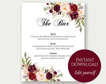 Bar Menu Sign, The Bar Sign, Bar Menu Printable, Drinks Sign, Bar Menu Template, Editable Drinks Sign, Editable Bar Menu, Marsala Wedding