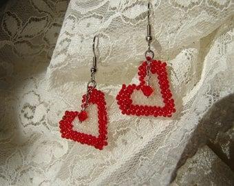 Valentine Earrings, Brick Stitch Earrings, Red Heart Earrings