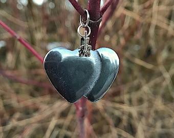 Hematite Double Heart Pendent