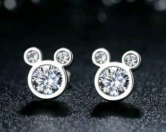 925 Sterling Silver Dazzling Mickey Mouse Stud Earrings