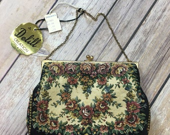 NWT Vintage Delill Creation Tapestry Bag France