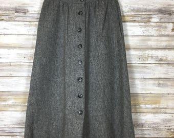 Vintage 70's Bronson of California Wool Blend A-line Skirt Sz 5-6