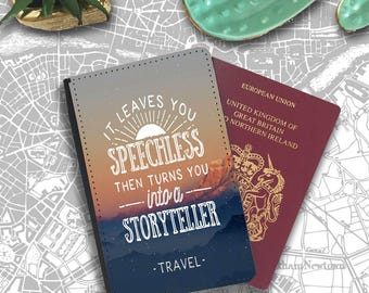 Become A Story Teller Chase the Sun quote Passport Holder Travel Flip Cover Case PT017