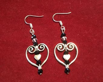 Heart earrings with silver heart charm
