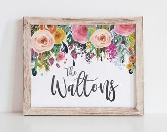 Watercolor Floral Family Name Printable - Custom Family Name Print - Family Name Sign - Last Name Sign - Digital Download - 8x10 - Surname