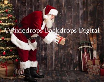 Digital Backdrop With Santa, Digital Santa Download (Santa and Christmas Tree on Reclaimed wood handing present)