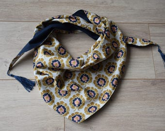 Scarf or cheche liberty Bosphorus lined with pom poms