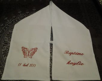 cotton christening scarf embroidered with butterfly pattern