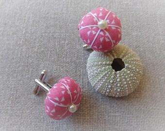 Cufflink woman cufflink Flower Pink Japanese button cuff