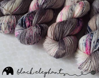 She's like heroin Hand dyed sock weight yarn  superwash merino luxurious contemporary single ply yarn speckled yarn grey pink blue 100g