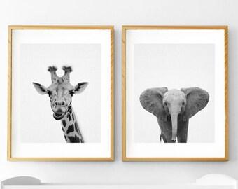 Safari Animal Print, Nursery Animals, Nursery Decor, Giraffe Print, Giraffe Wall Art,Elephant Print, Safari Animal, Nursery Printable