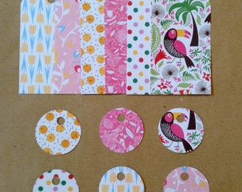 Set of 24 tags for gifts, spring / pink, yellow, blue.