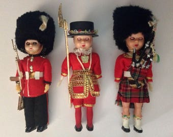 Lot of 3 Ethnic Vintage Dolls - Queen's Royal Guard, Tower Guard & Scottish Royal Piper