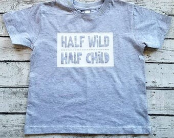 Half Wild Half Child Boys T-shirt boys birthday shirt, two year old birthday shirt, three year old birthday shirt