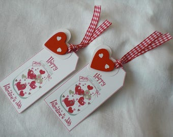 Two labels Valentine's day red and white