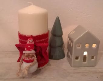 Christmas candle Ecru Ribbon wool red wood and 15 cm cloth doll patterns