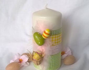Candle Easter basket eggs pastel Ribbon 14 cm