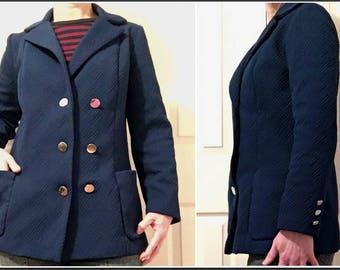 Vintage 1970s Colette Blue Blazer Jacket - Size 7/8 - Union Made in Canada
