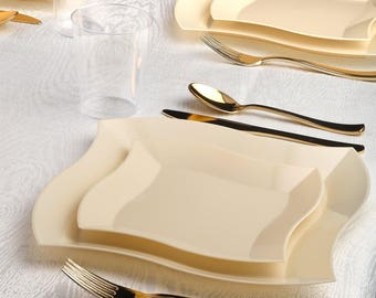 Kaya Collection - Deluxe Wave Bone Disposable Plastic Party Package - Includes Dinner Plates, Salad Plates, Gold Cutlery, Tumblers