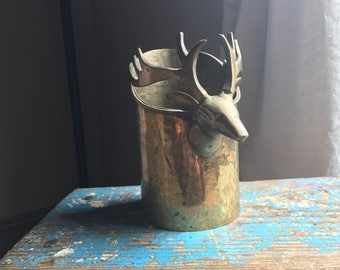 SALE* Vintage Brass Deer Vase or Planter
