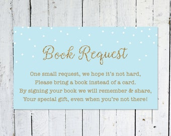 Book Request Insert, Baby Shower, Blue And Gold, Bring A Book Instead Of A Card, Confetti, Printable, Instant Download, Books For Baby