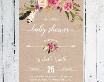 Baby Shower Invitation Girl, Boho Baby Shower Invitation, Autumn, Flowers, Rustic, Kraft Paper, Feathers, Arrows, Printable, Printed