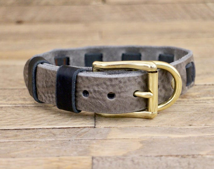 Collar, Personalised collar, FREE ID TAG, Leather collar, Gift, Handmade leather collar, Wolf grey collar, Dog collar, Brass hardware
