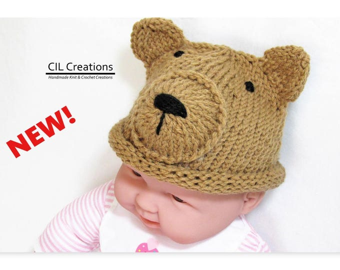 Featured listing image: Baby Brown Bear Hat Made to Order Multiple sizes Handmade Knit