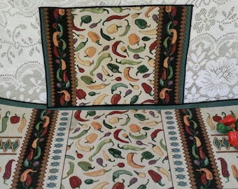 Assorted Color Peppers Table Runner & 8 Matching Placemats