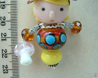 BAG CHARM / PENDANT DOLL POLYMER CLAY AND BEAD - MODEL MISS WALK IN THE WOODS