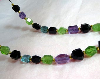 23 Pieces Black Tourmaline ,Afghani Fluorite,Peridot Mix hand faceted beads necklace GL