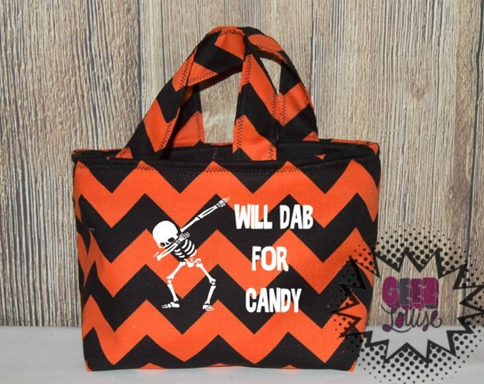 Dabbing Skeleton Personalized Halloween Trick or Treat Bag Monogram Candy Ghost Skull Bat Pumpkin Costume Orange Black Unicorn First Witch