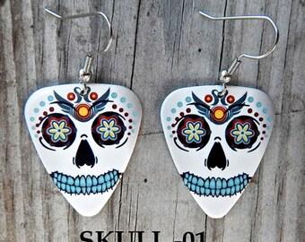 Custom Handmade Guitar Pick Earrings -  SKULL