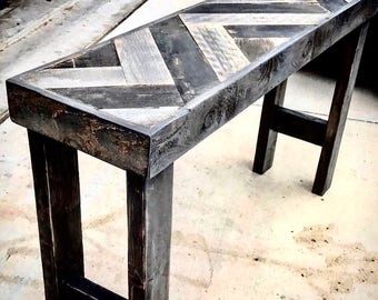Console table reclaimed wood - herringbone