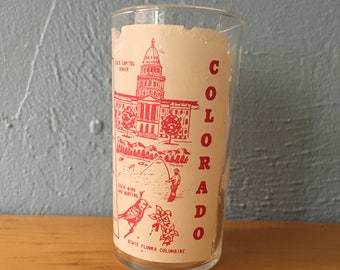FREE SHIPPING Vintage Colorado Federal Souvenir Tumbler Glass Centennial State Columbine 1