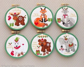 Christmas Animals Cross Stitch Pattern PDF | Moose | Fox | Wolf | Polar Bear | Brown Grizzly | Elephant Easy Beginners Counted Cross Stitch