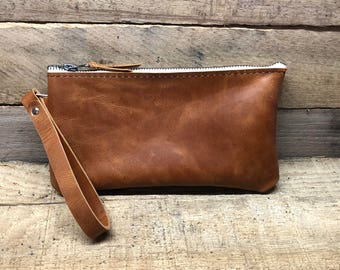 Handmade Brown Leather Clutch Purse, Leather Clutch, Leather wristlet clutch, Soft Leather Clutch, Leather bag