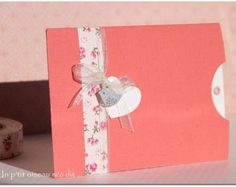 Floral Pocket girl birth announcement