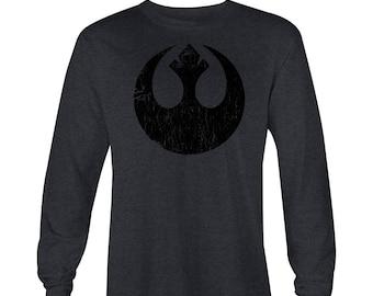 Star Wars Blacked Out Rebel Symbol Long Sleeve T-shirt , Star Wars T-shirt , Star Wars Tee, Star Wars shirt, StarWars Tees, Star Wars Rebels